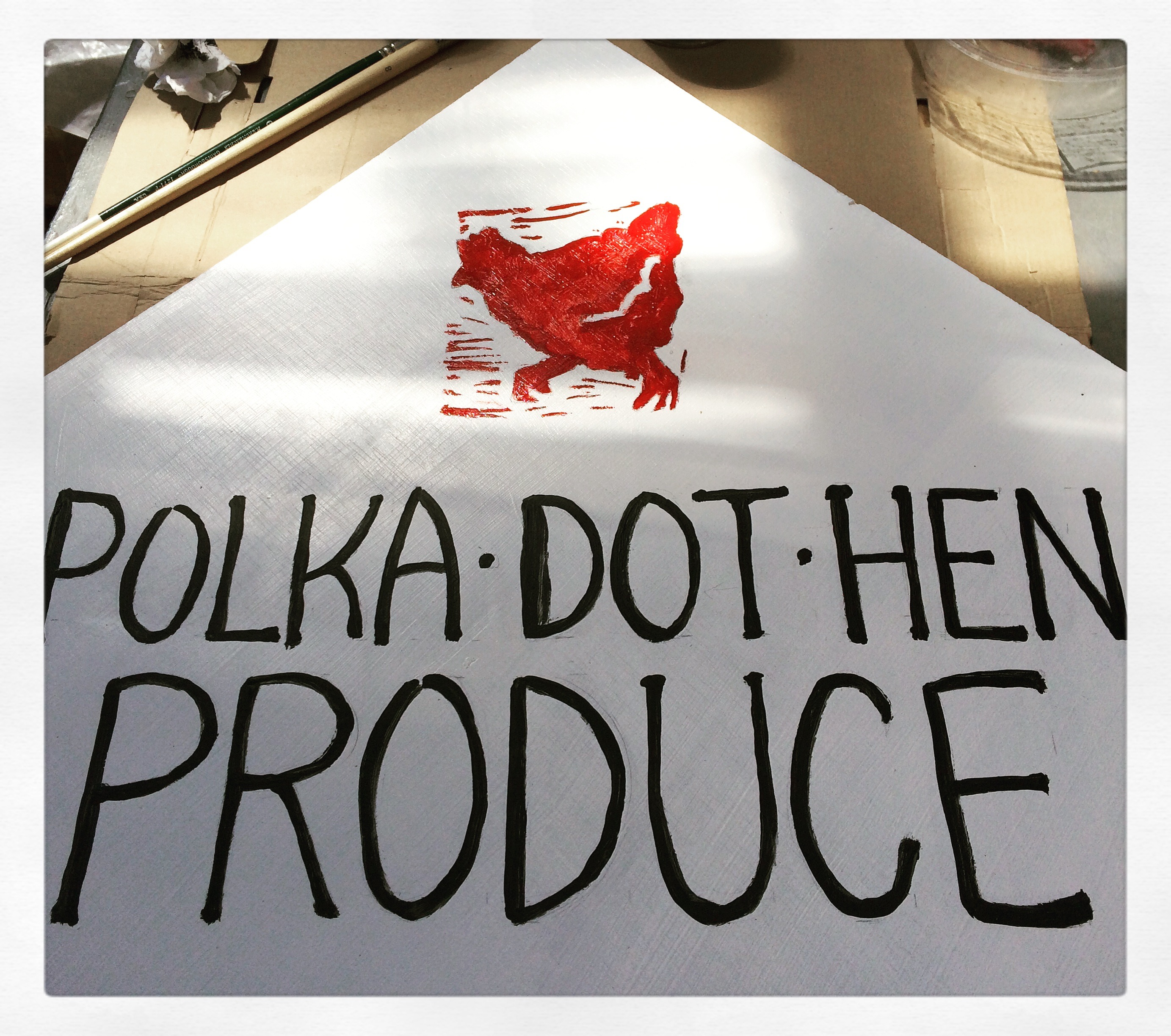 Polka Dot Hen Produce hand painted sign