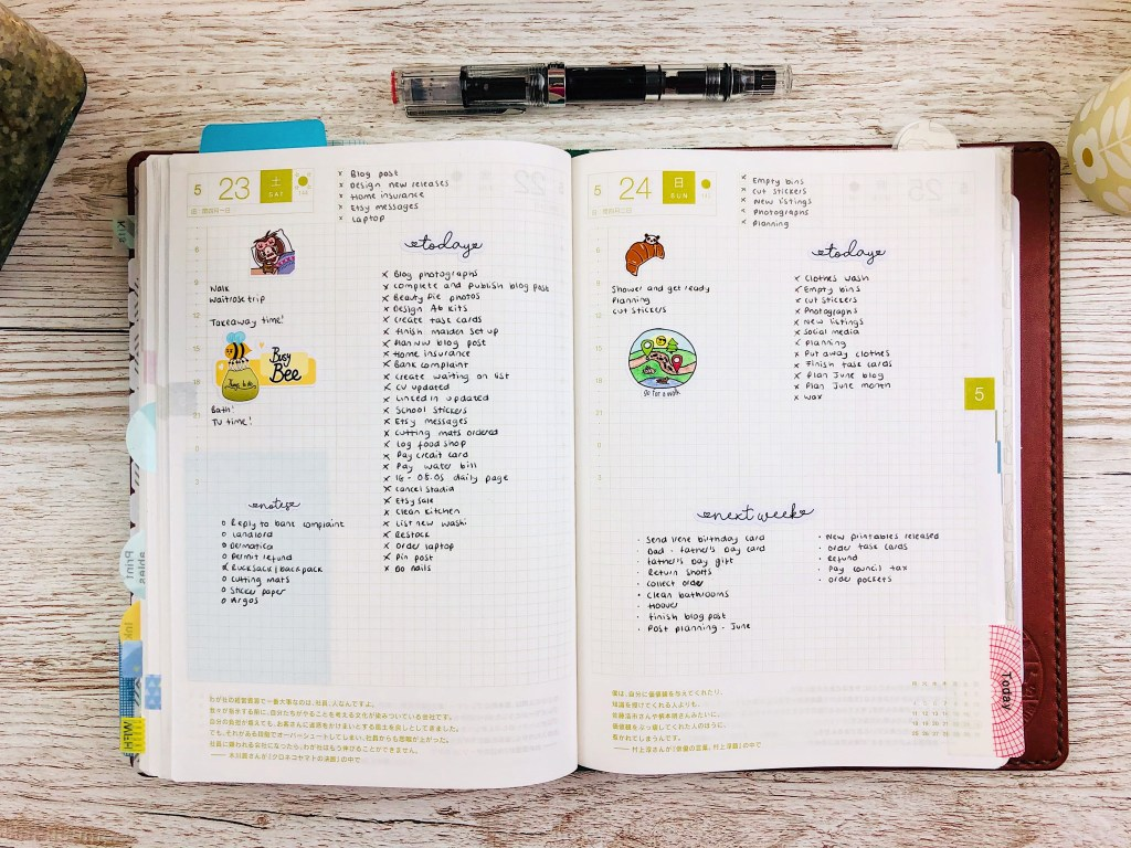 hobonichi cousin two daily pages example