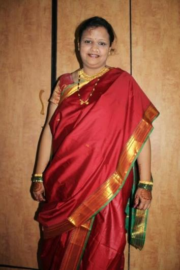 My virtual friend, Ashwini, who is a Marathi, wearing saree in a typical Marathi style.