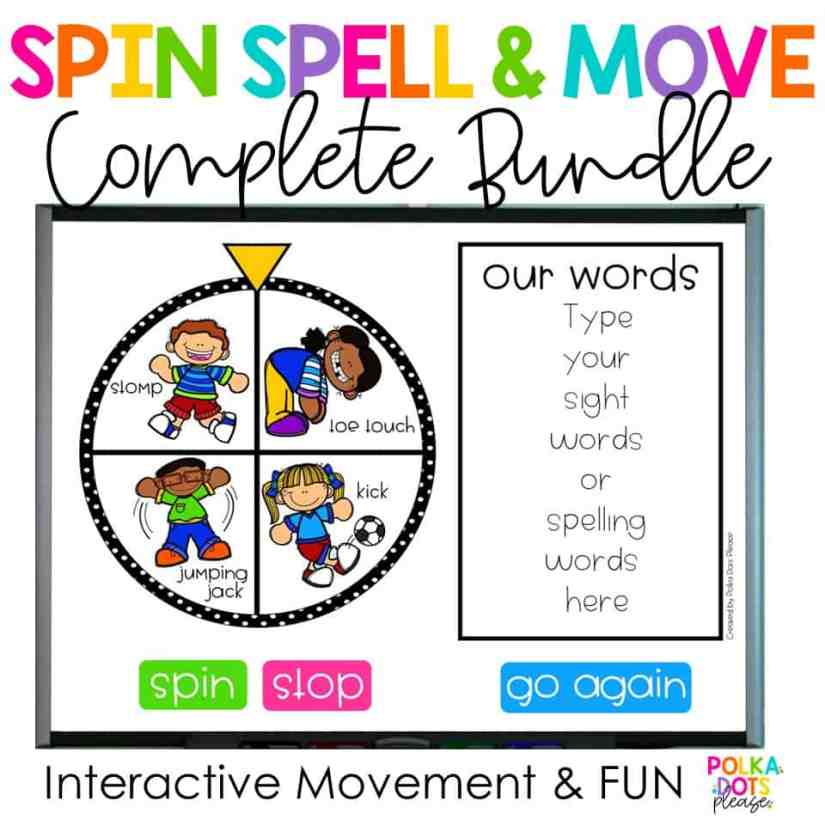 Spin Spell Move classroom spelling game