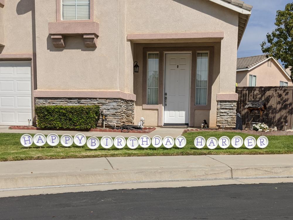 Diy Birthday Lawn Sign Polka Dotted Blue Jay