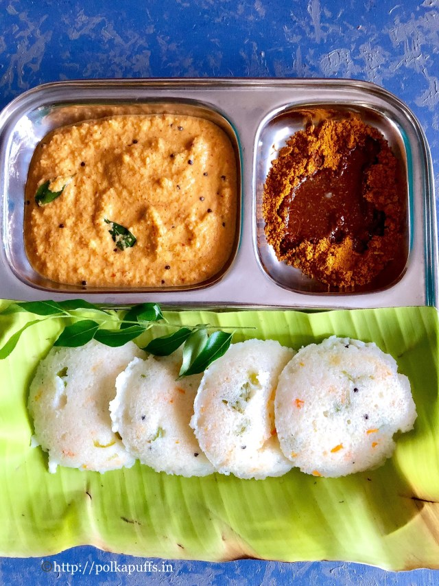 Vegetable Poha Idli | Red Coconut Chutney