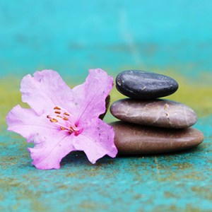 Flower and 3 Stones Stacked