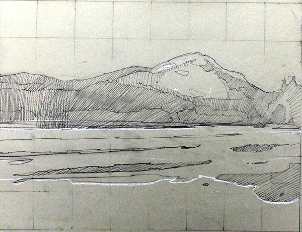 Little Long Pond, pencil on Canson, 12 x 18 inches