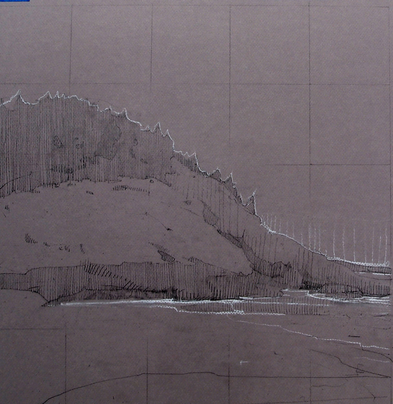 "Oak Hill Bluff, 15 x 15"" graphite and chalk on toned board"