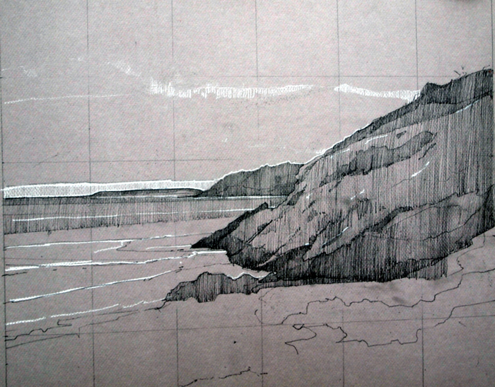 Sand Beach, Right Side, pencil and Conte on Canson, 15 x 18 inches