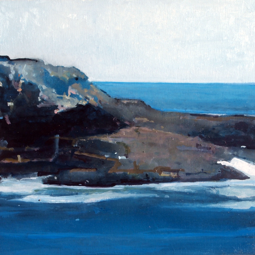 Little Hunter's Beach, long side, spring tide, oil on board, 12 x 12 inches