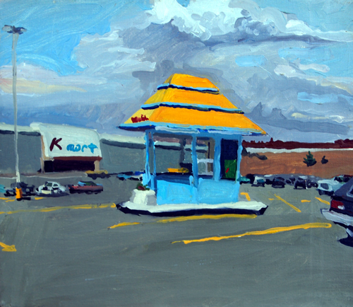 Skowhegan Fotomat, 14 x 16, oil on linen, 1984