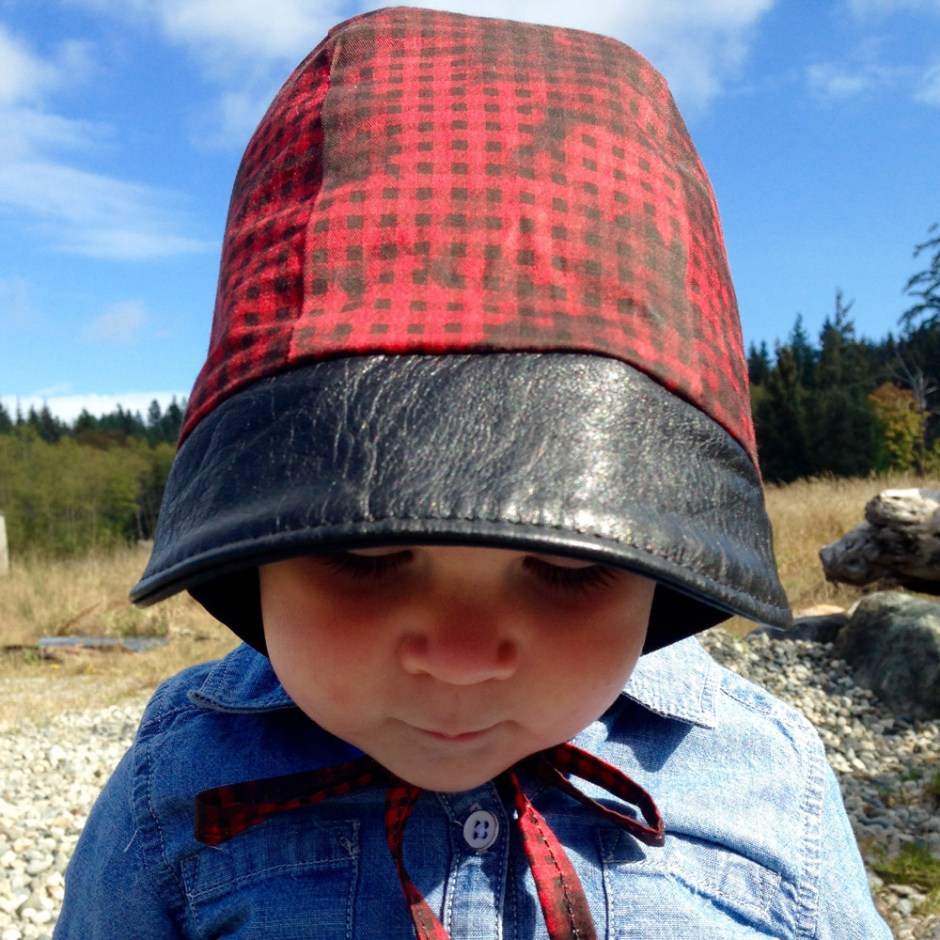 buffalo plaid and leather baby bonnet, leather baby bonnets