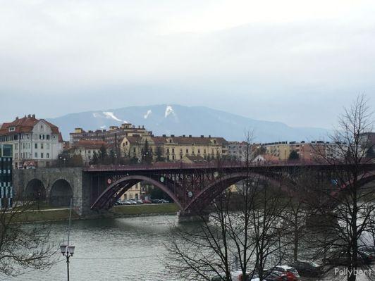 Old Bridge (1913) with skiing area in the back @Maribor, Slovenia