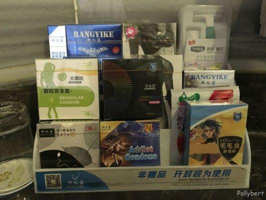 choice of condoms at Chinibagh Hotel @Kashgar