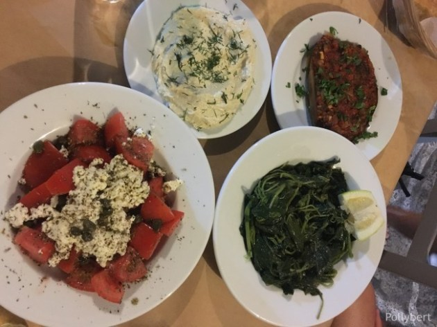 dinner time with from left tomato salad, taramasalata, wild greens and eggplant @Paros