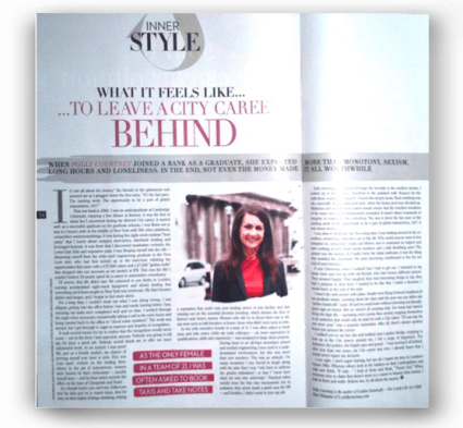 Sunday Times Style - What it feels like to leave a City career behind - http://www.thesundaytimes.co.uk/sto/style/feels_like/article1160067.ece
