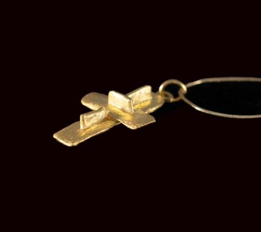 Rustic and interesting gold cross made with scraps of 22ct gold