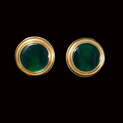 green agate slice earrings 22ct gold