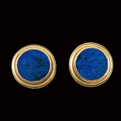 lapis disc earrings