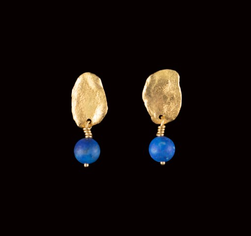 lapis bead and gold earrings