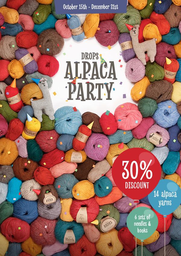 DROPS Alpaca Party – 30% off 14 alpaca yarns
