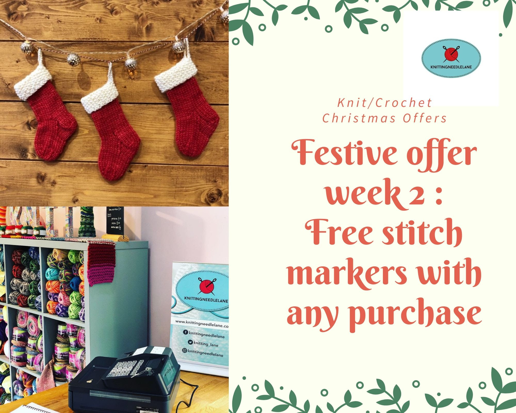 2 free stitch markers with purchases from Knitting Needle Lane this week