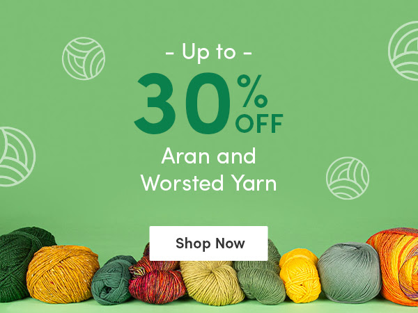 Up to 30% off aran and worsted yarns at LoveCrafts