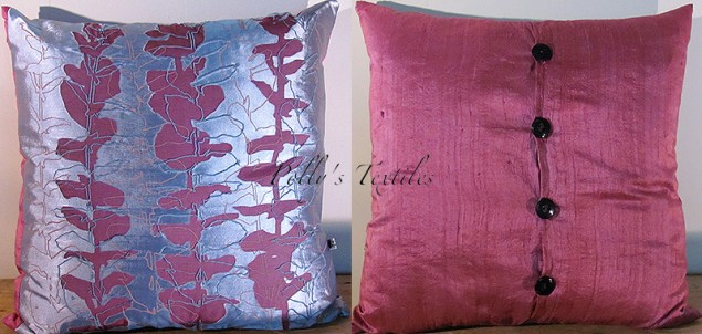 devore silk cushion in Plum