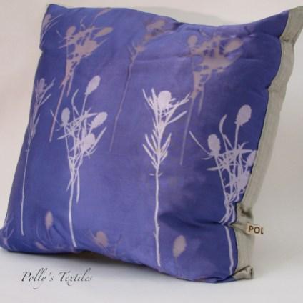 Purple silk cushion