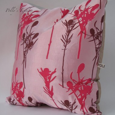 Hot pink silk cushion