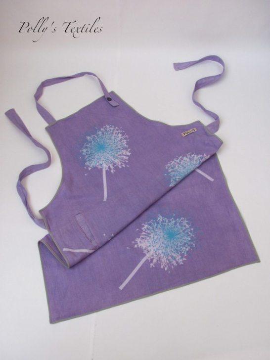 Purple linen apron