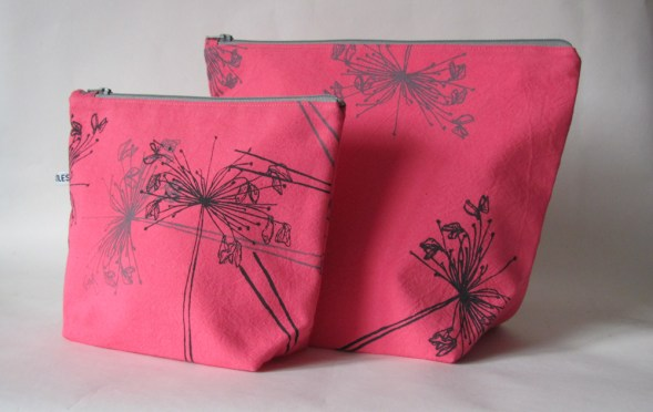 Large & small wash-bags in charcoal & pale grey Tumbling Flower design