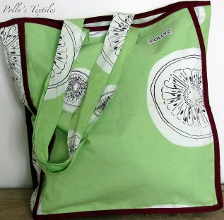 Kiwi Tote bag. Lime green kiwi design with plain cotton lining and burgundy satin edging.