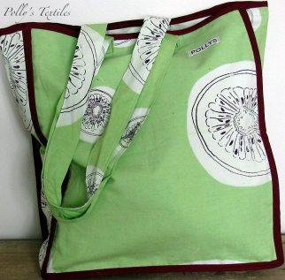 Kiwi Tote bag. Lime green kiwi design with plain cotton lining and burgundy satin edging.