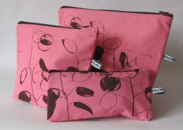 pink handmade cosmetic bags