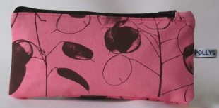 Pink pencil case in Honesty design