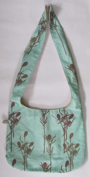 green and brown fabric bag