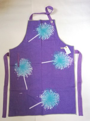 Purple linen apron with turquoise blue in Aliums design, £10