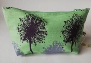 "Pea green long wash-bag in purple & lilac Small Alius design, waterproof lining, £9, size: 9"" x 5"" x 2"""