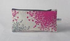 hot pink & pale grey Straburst design pencil case