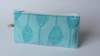 turquoise cotton pencil case