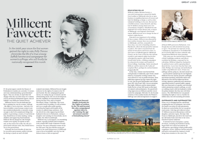 Millicent Fawcett – The Quiet Achiever – an article for Suffolk life Magazine