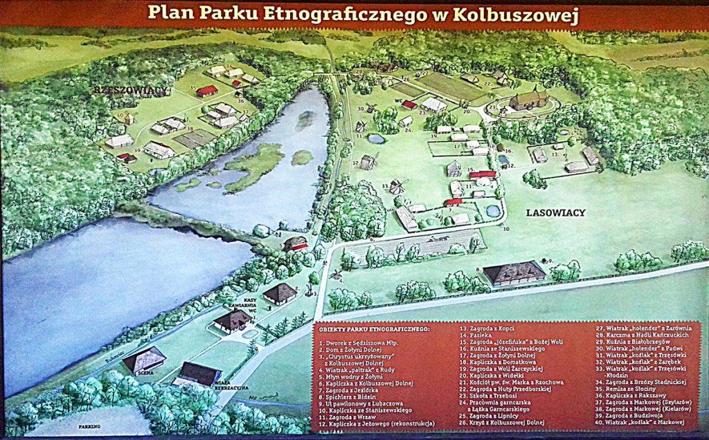 Plan du parc ethnographique de Kolbuszowa
