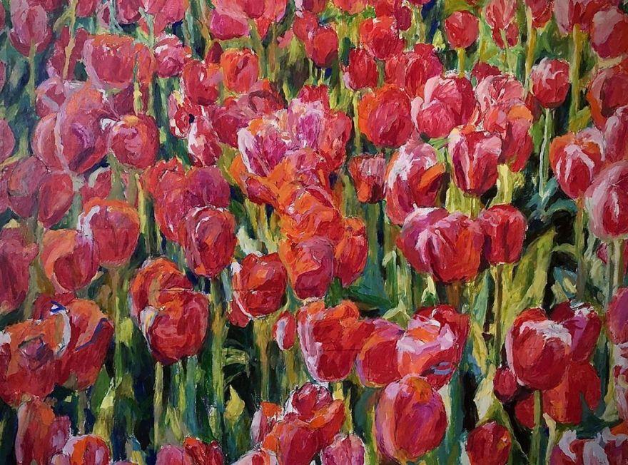 """""""Rdeči tulipani"""", 84x124 cm"""