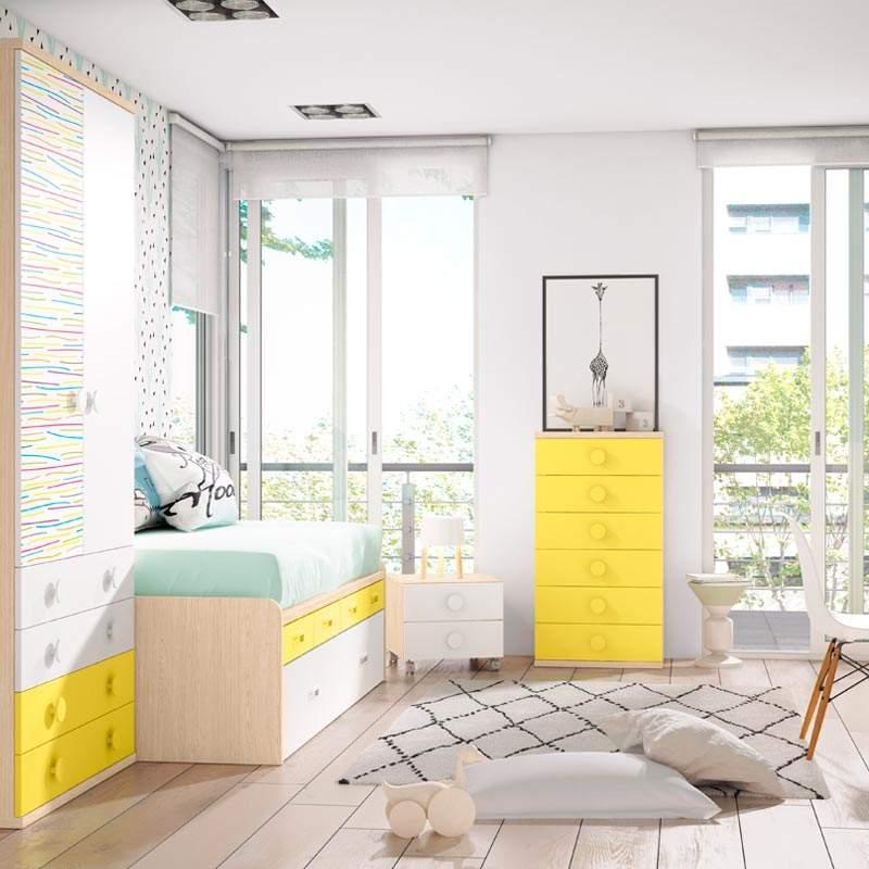cama juvenil convertible bobby amarillo