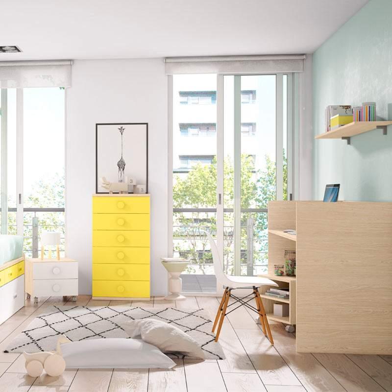 cama sifonier y mesa de estudio juvenil convertible bobby amarillo