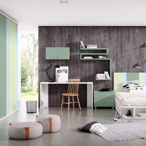 Juvenil Unicorn en tonos verdes de muebles polque