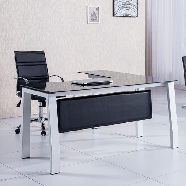 mesa escritorio cristal negra muebles polque