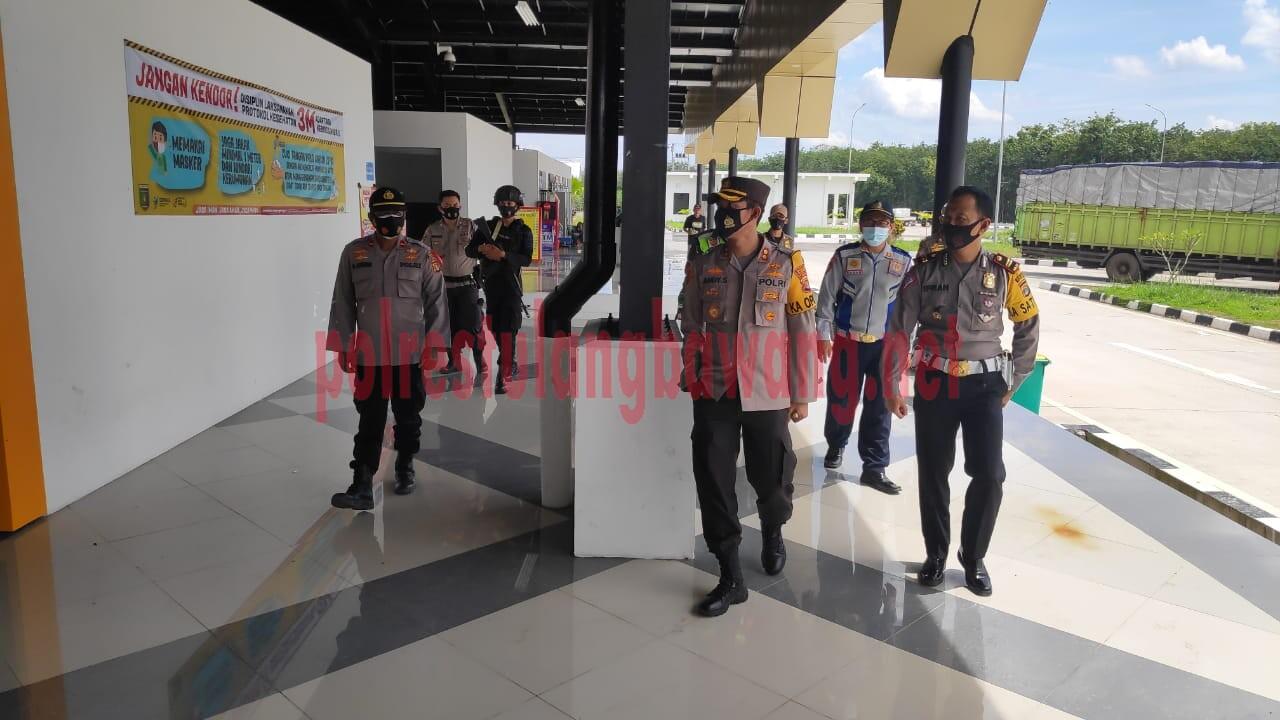 Kapolres Tulang Bawang AKBP Andy Siswantoro, SIK saat cek langsung Pos Pam Rest Area Km 208