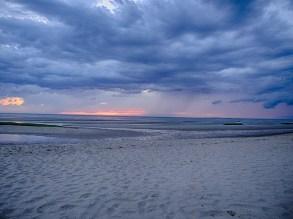 Rain showers over Cape Cod Bay