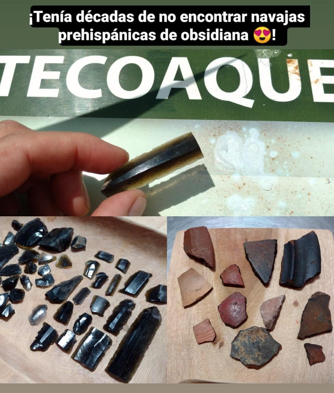 Navajas prehispánicas de obsidiana.