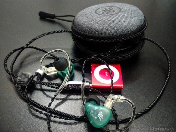 NF Audio NA2 earphones and red iPod Shuffle.