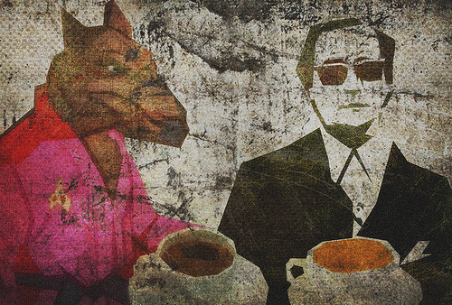 painting of Splinter, the rat sensei from Teenaged Mutant Ninja Turtles, having coffee with a man in a suit and dark glasses